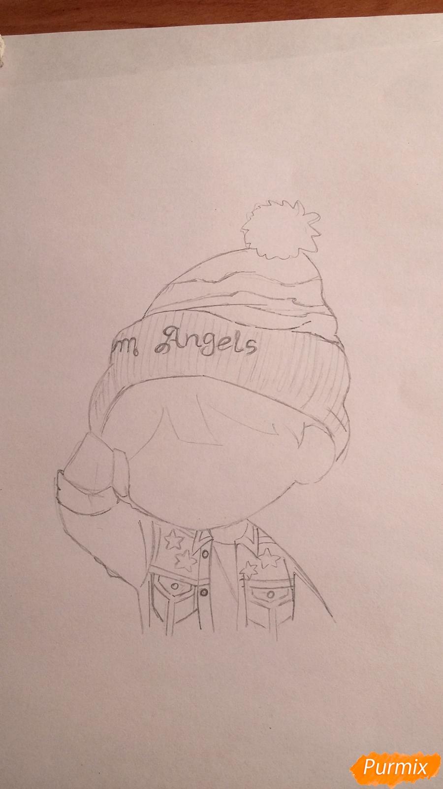 Рисуем чиби-мальчика в шапке цветными карандашами - шаг 6