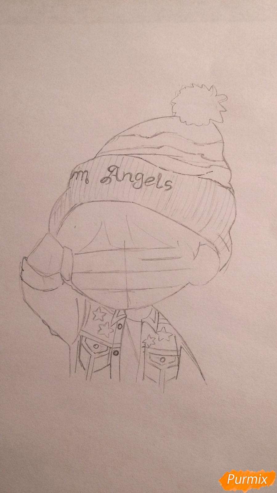 Рисуем чиби-мальчика в шапке цветными карандашами - шаг 7