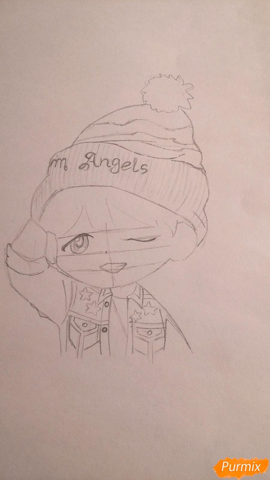 Рисуем чиби-мальчика в шапке цветными карандашами - шаг 8
