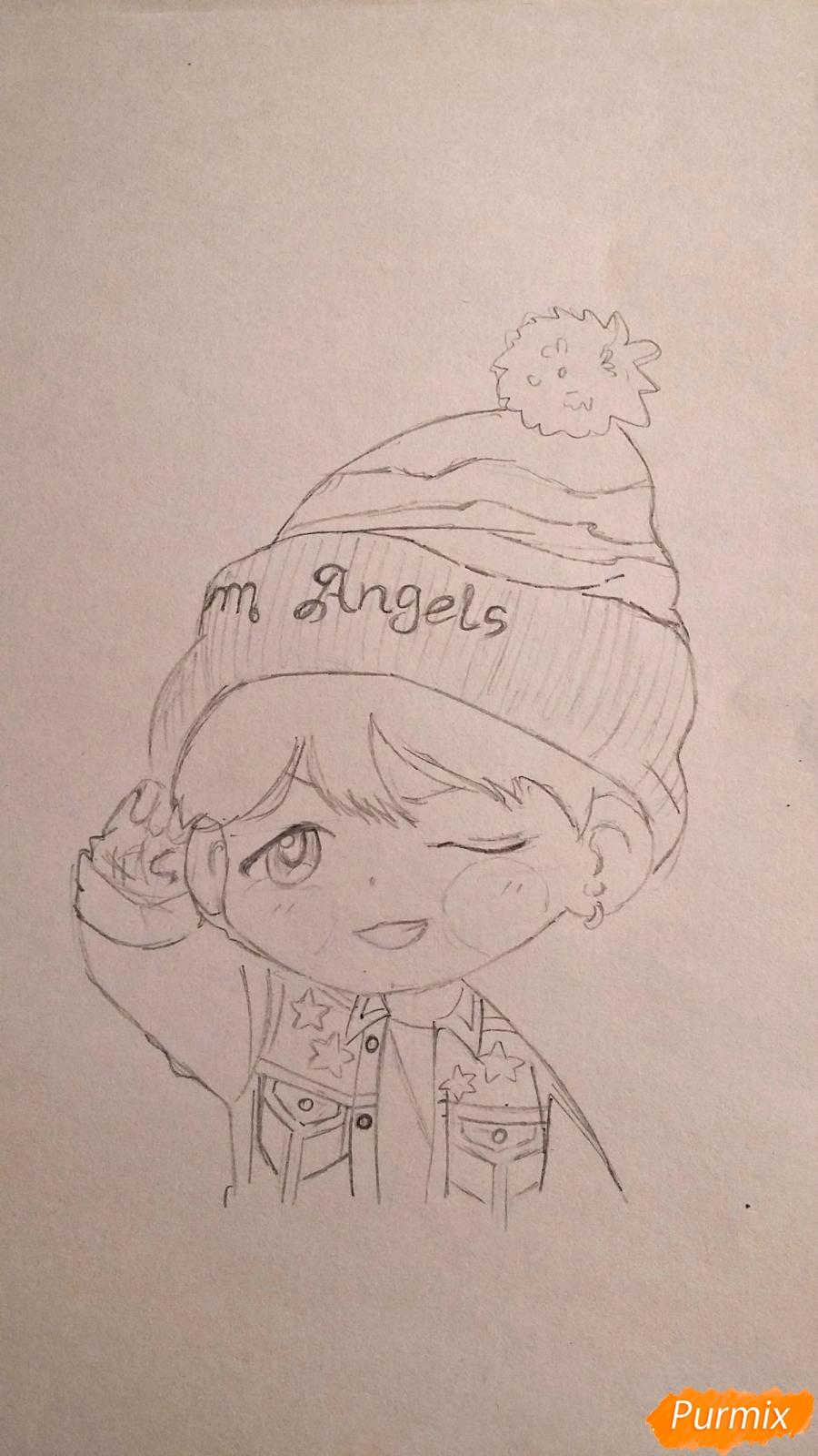 Рисуем чиби-мальчика в шапке цветными карандашами - шаг 9