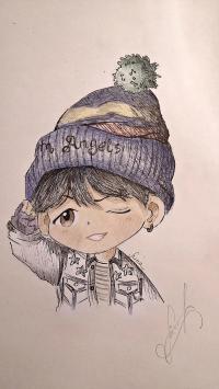 Фото чиби-мальчика в шапке цветными карандашами
