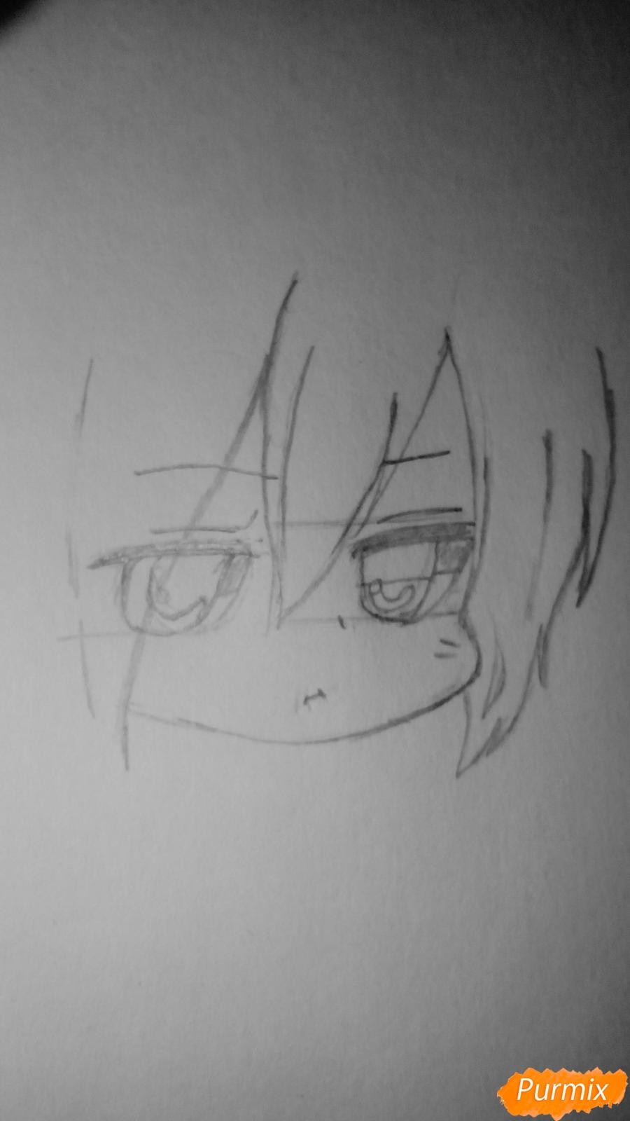 Рисуем чиби Сайто Хаджиме из аниме Сказание о демонах сакуры - шаг 2