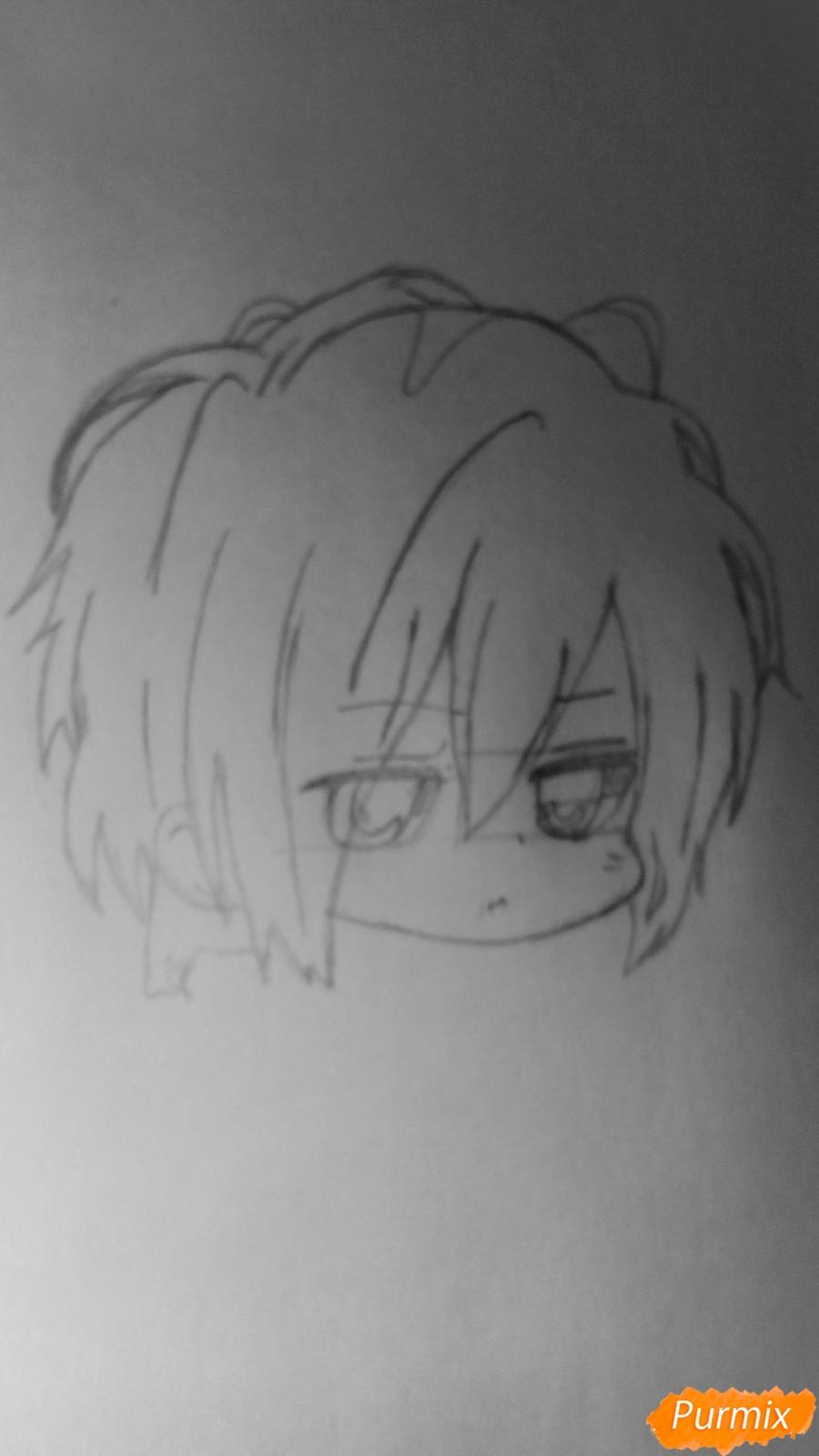 Рисуем чиби Сайто Хаджиме из аниме Сказание о демонах сакуры - шаг 3
