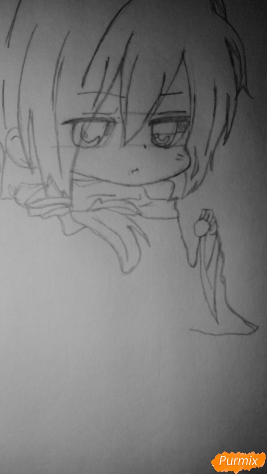 Рисуем чиби Сайто Хаджиме из аниме Сказание о демонах сакуры - шаг 4