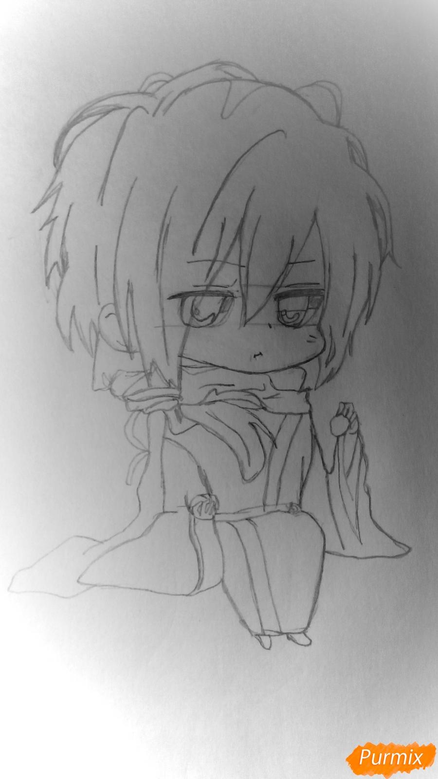 Рисуем чиби Сайто Хаджиме из аниме Сказание о демонах сакуры - шаг 5