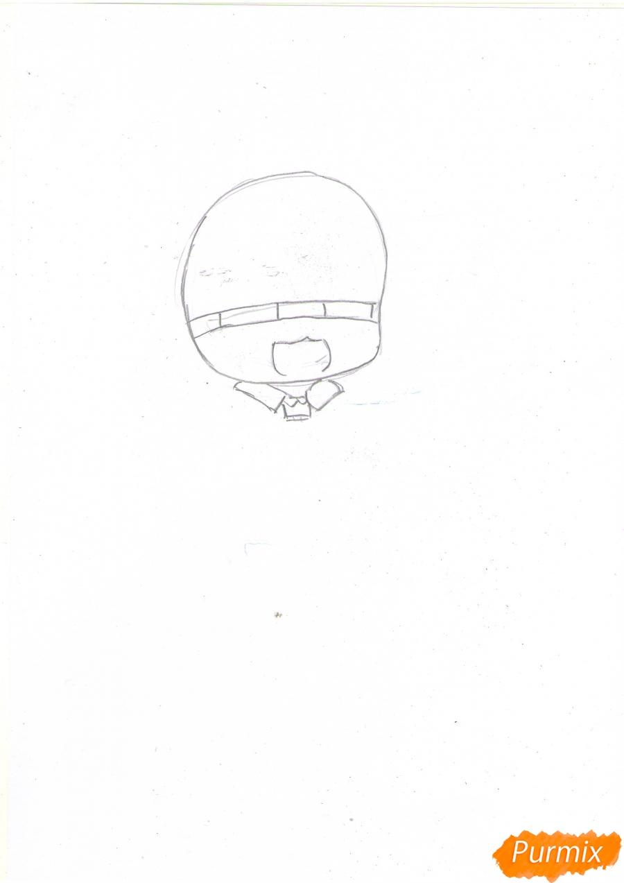 Рисуем чиби Сашу Брауз с шашлыком цветными карандашами - шаг 1