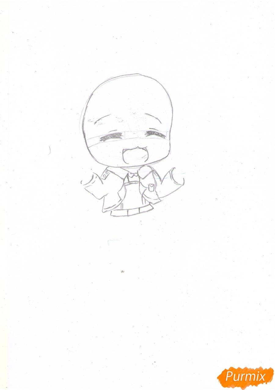 Рисуем чиби Сашу Брауз с шашлыком цветными карандашами - шаг 2