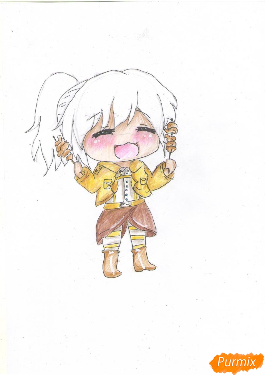 Рисуем чиби Сашу Брауз с шашлыком цветными карандашами - шаг 7