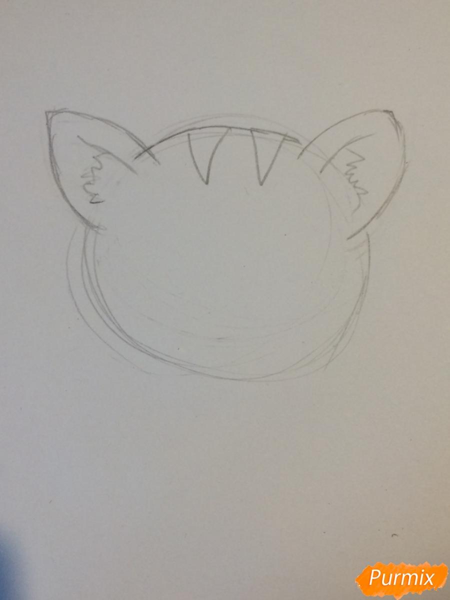 Рисуем чиби тигра карандашами - шаг 2