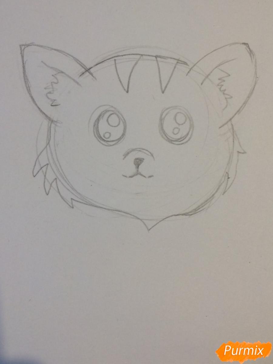 Рисуем чиби тигра карандашами - шаг 4