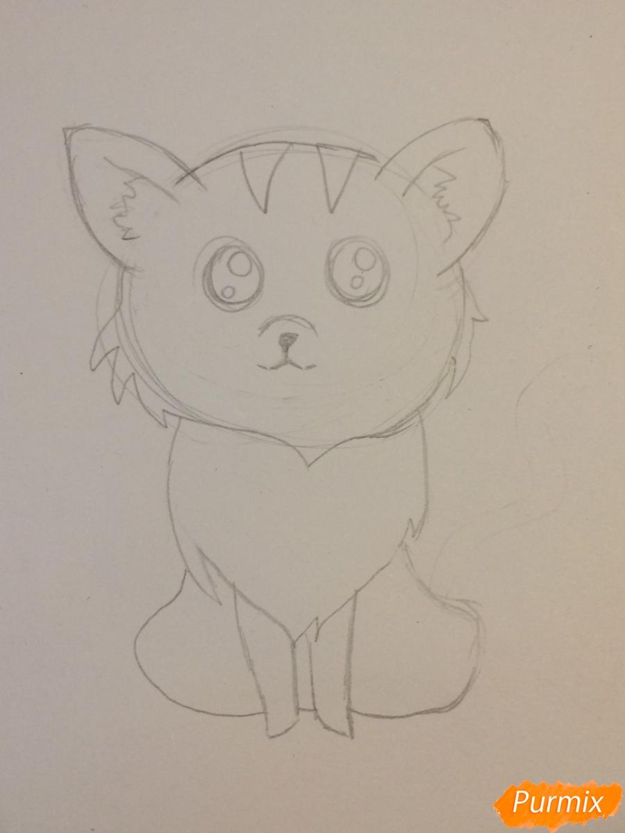 Рисуем чиби тигра карандашами - шаг 5