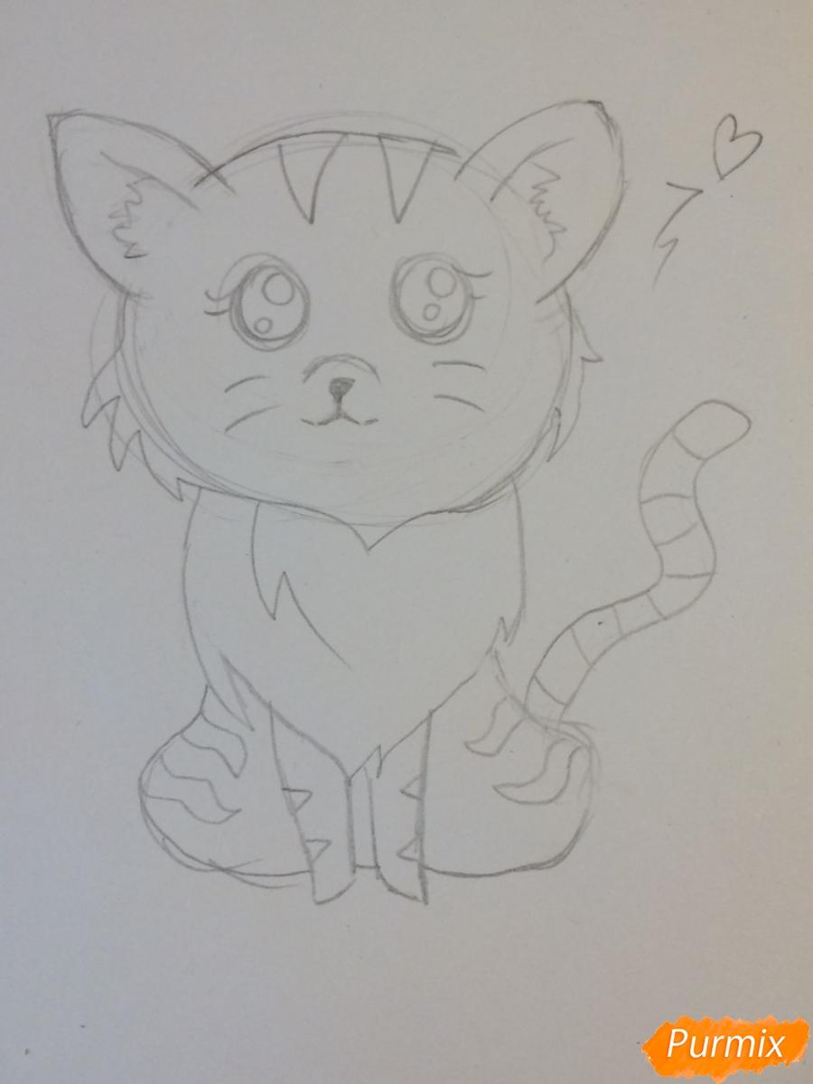 Рисуем чиби тигра карандашами - шаг 7