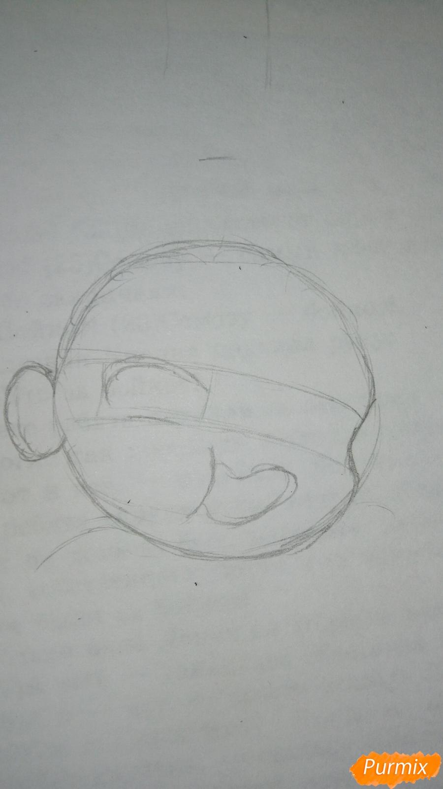 Рисуем чибика Витю цветными карандашами - шаг 2