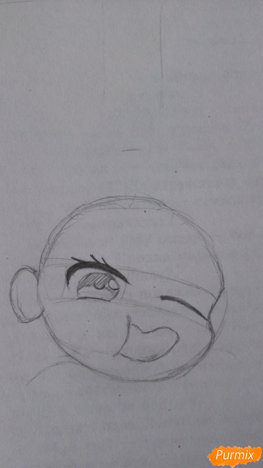 Рисуем чибика Витю цветными карандашами - шаг 3