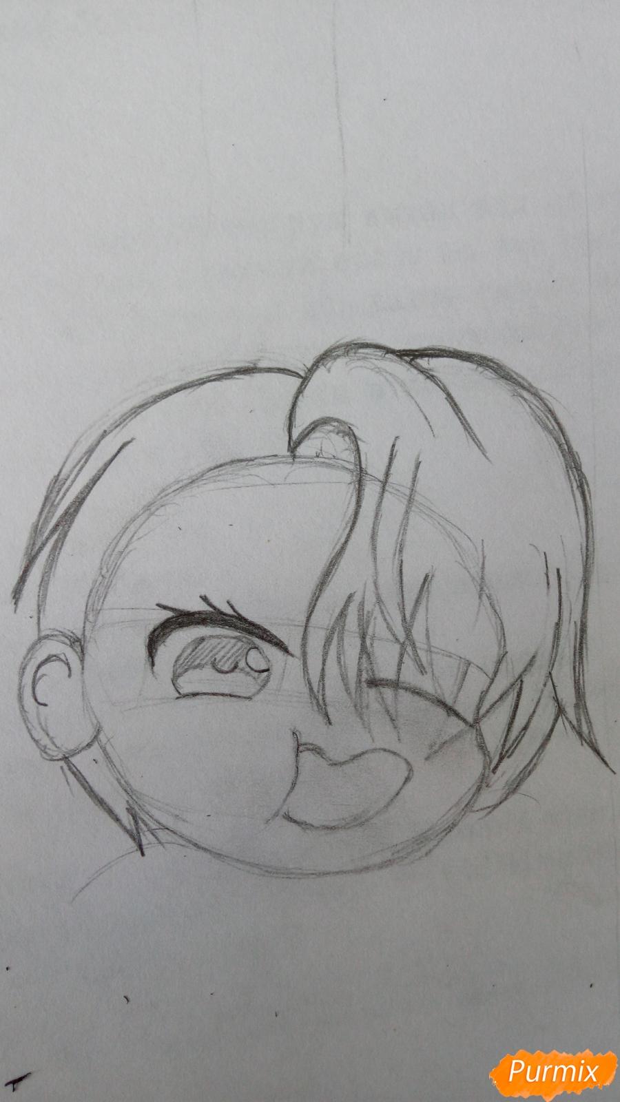 Рисуем чибика Витю цветными карандашами - шаг 4