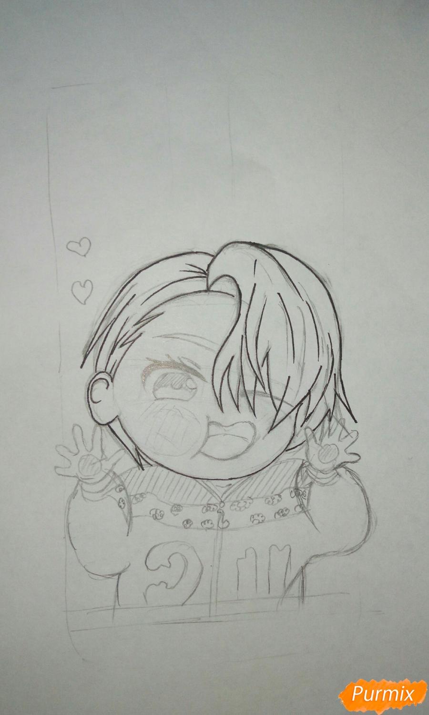 Рисуем чибика Витю цветными карандашами - шаг 8