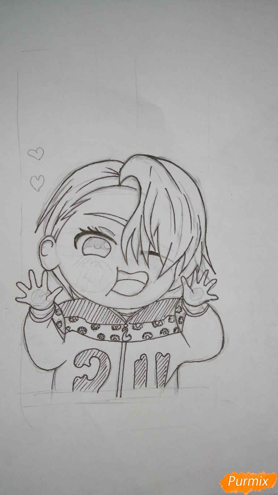 Рисуем чибика Витю цветными карандашами - шаг 9