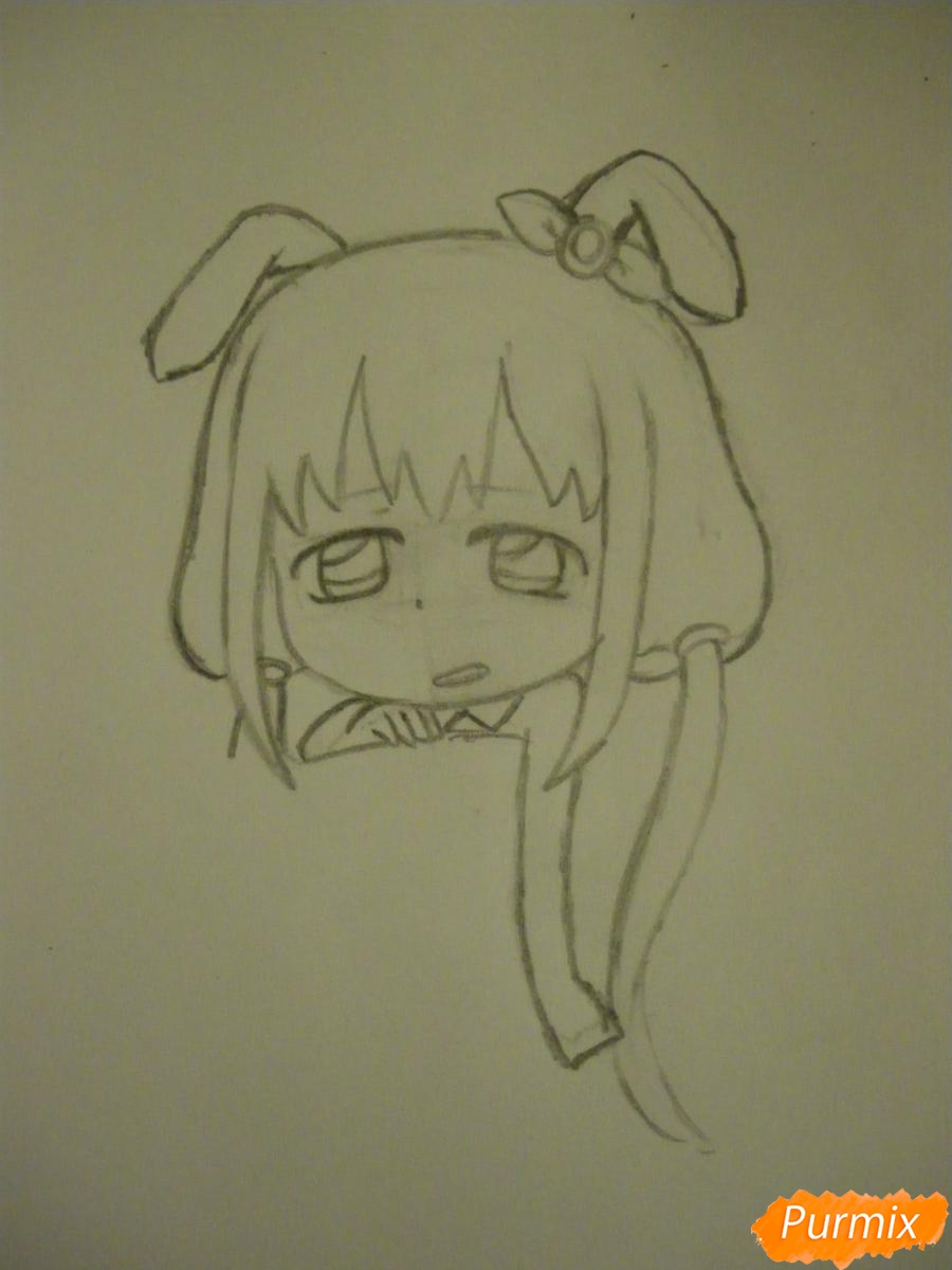 Рисуем девочку кролика в стиле чиби - шаг 5