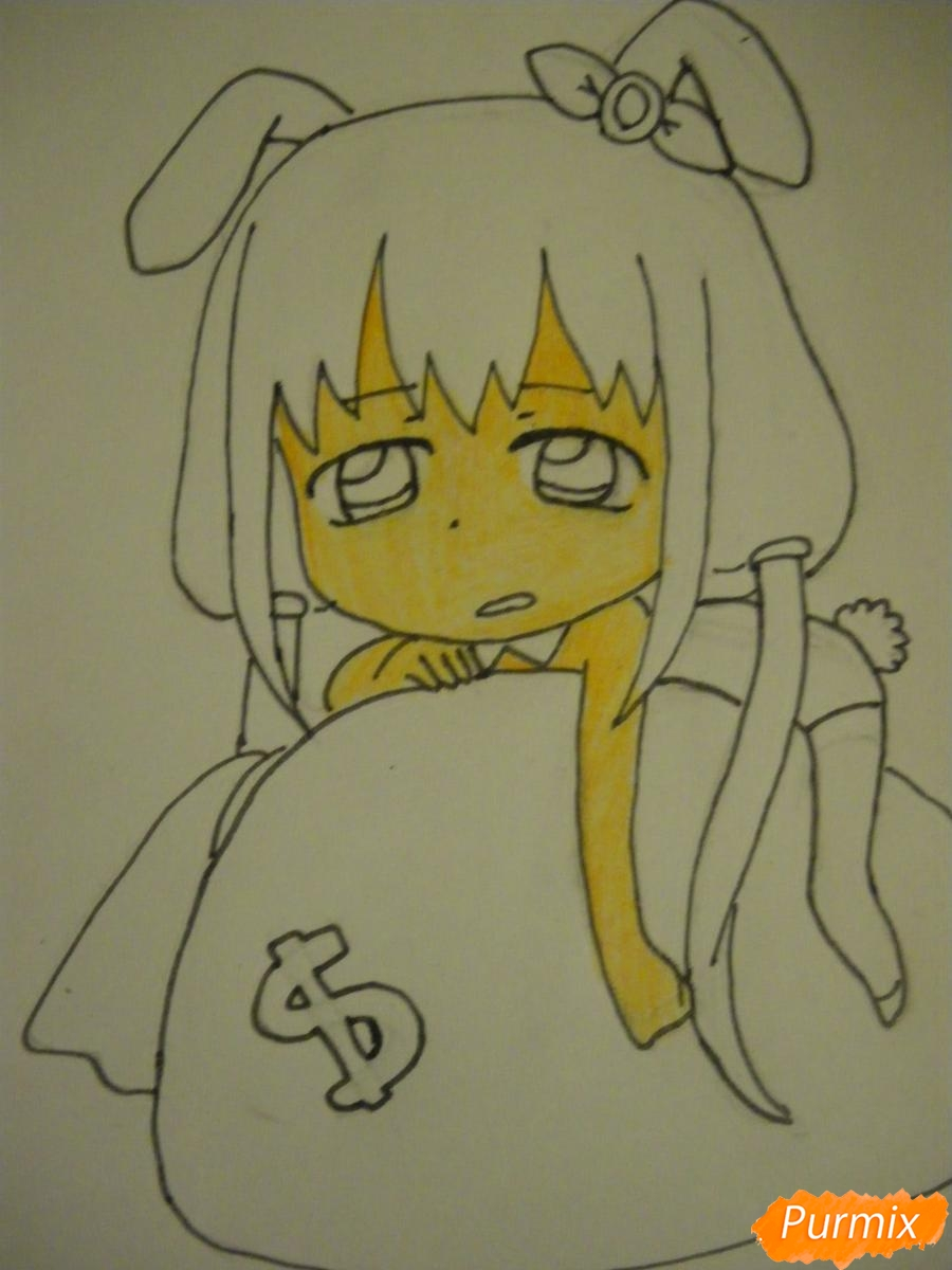 Рисуем девочку кролика в стиле чиби - шаг 9