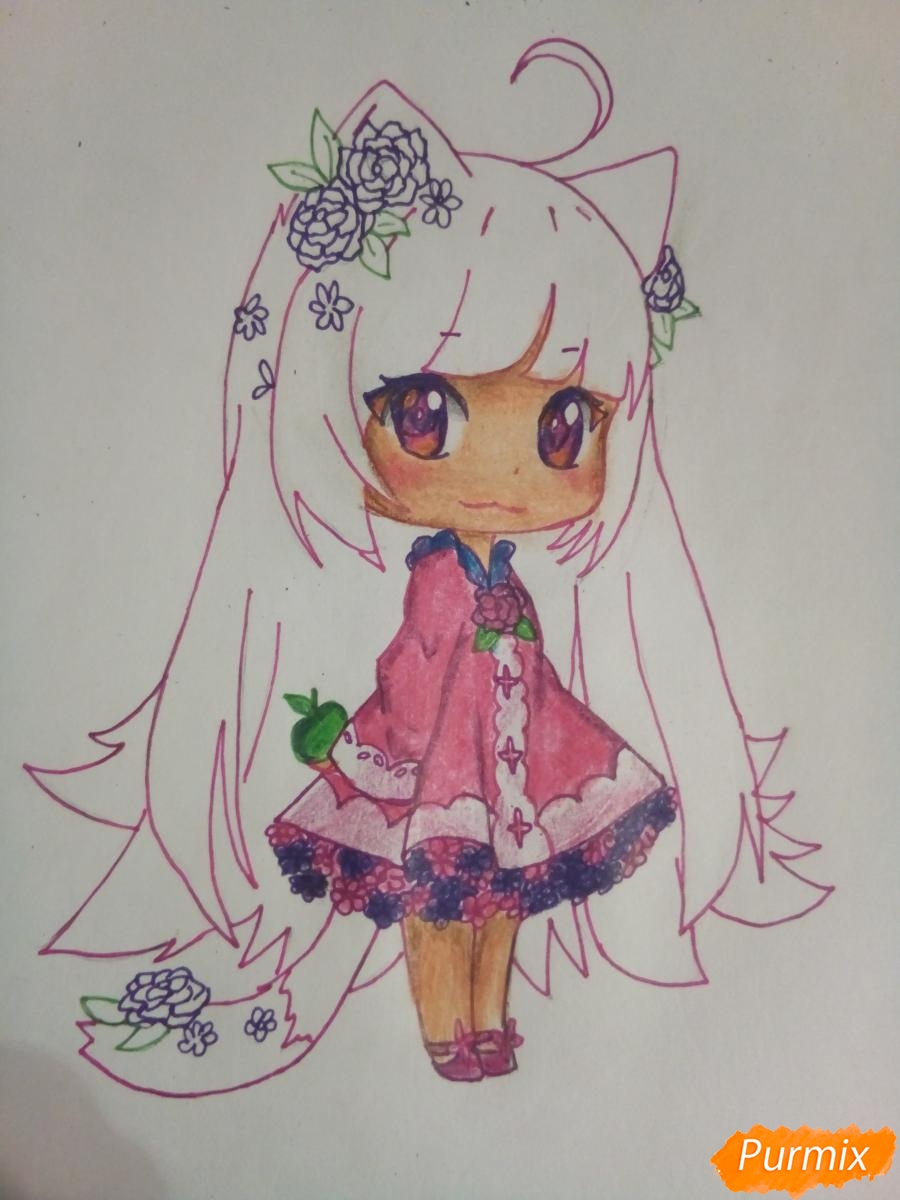 Рисуем чиби девочку лисичку с розами - шаг 11