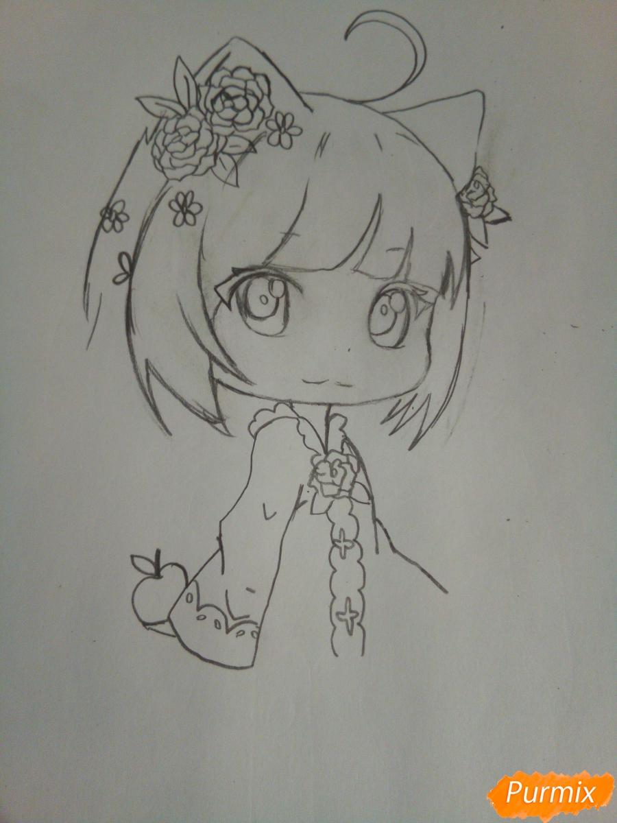 Рисуем чиби девочку лисичку с розами - шаг 5