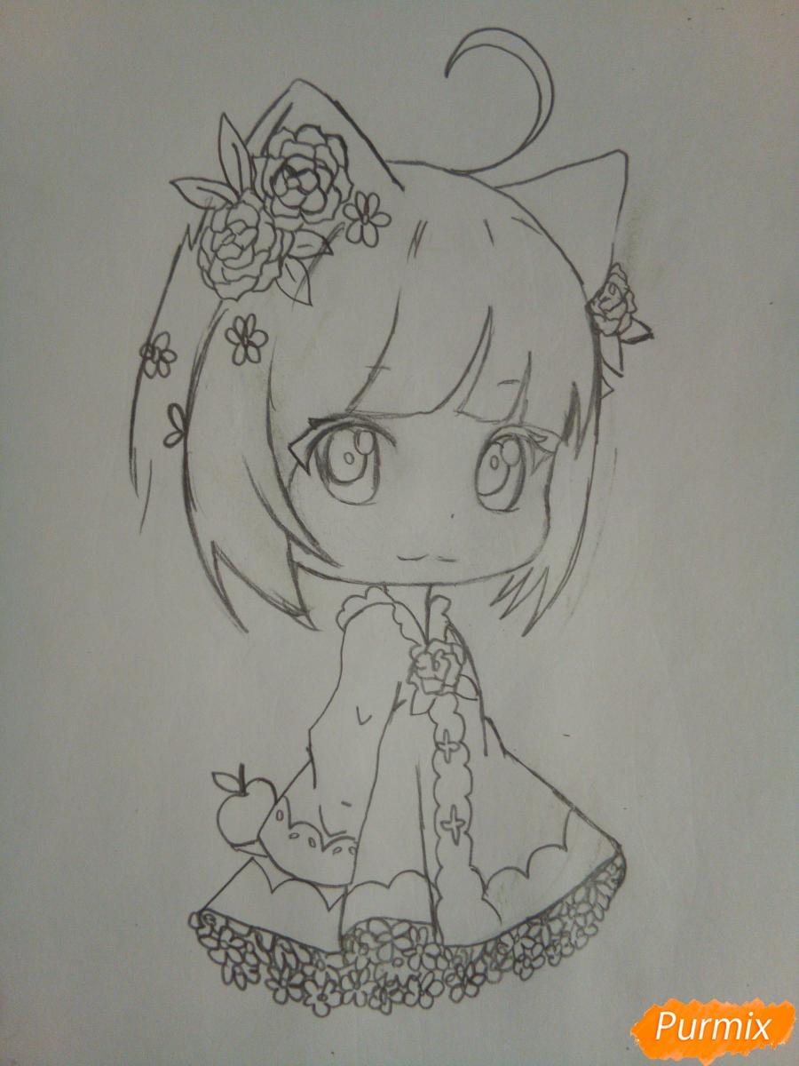 Рисуем чиби девочку лисичку с розами - шаг 6