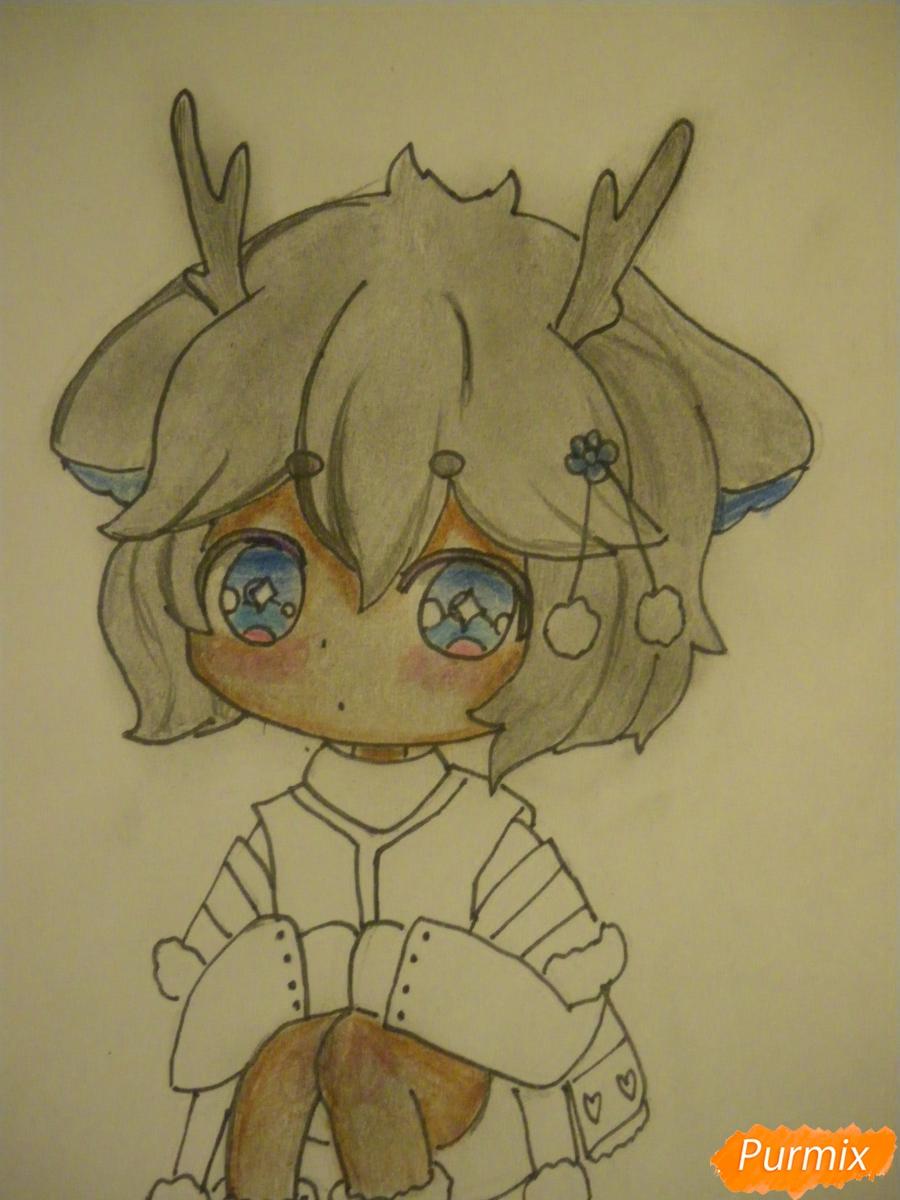Рисуем девочку оленя в стиле чиби карандашами - шаг 10
