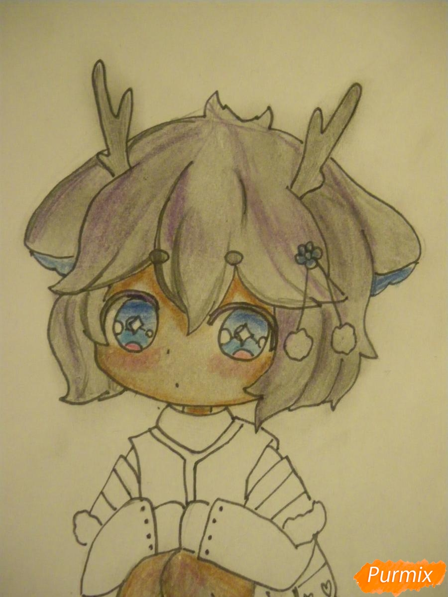 Рисуем девочку оленя в стиле чиби карандашами - шаг 11