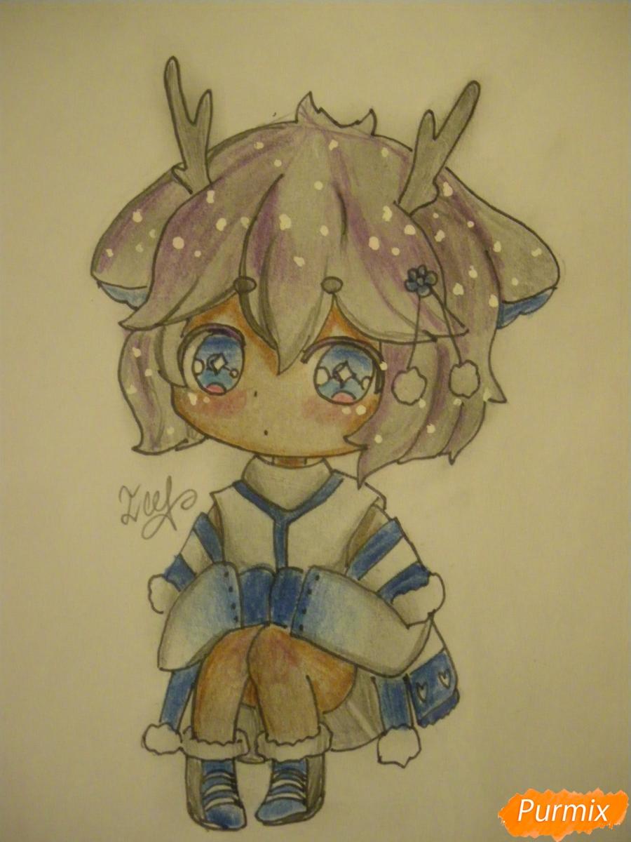 Рисуем девочку оленя в стиле чиби карандашами - шаг 12