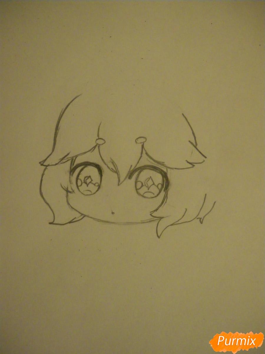 Рисуем девочку оленя в стиле чиби карандашами - шаг 3