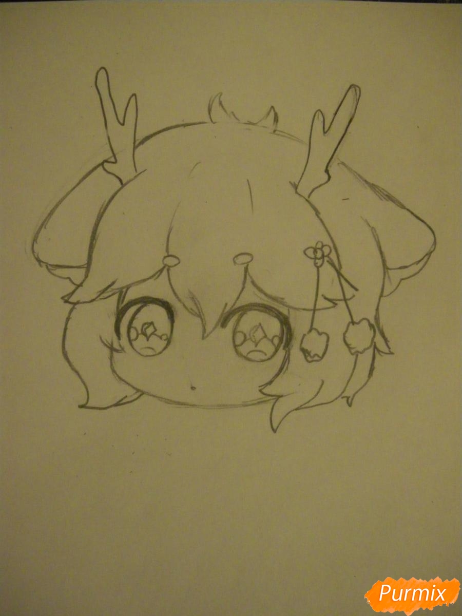 Рисуем девочку оленя в стиле чиби карандашами - шаг 4