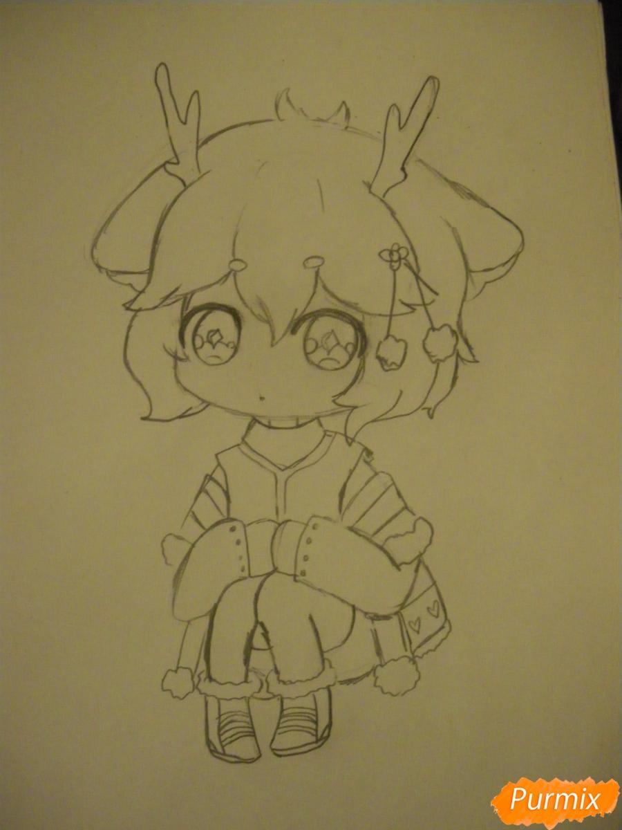 Рисуем девочку оленя в стиле чиби карандашами - шаг 6