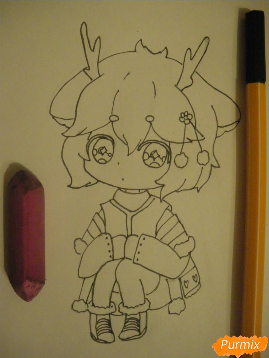 Рисуем девочку оленя в стиле чиби карандашами - шаг 7