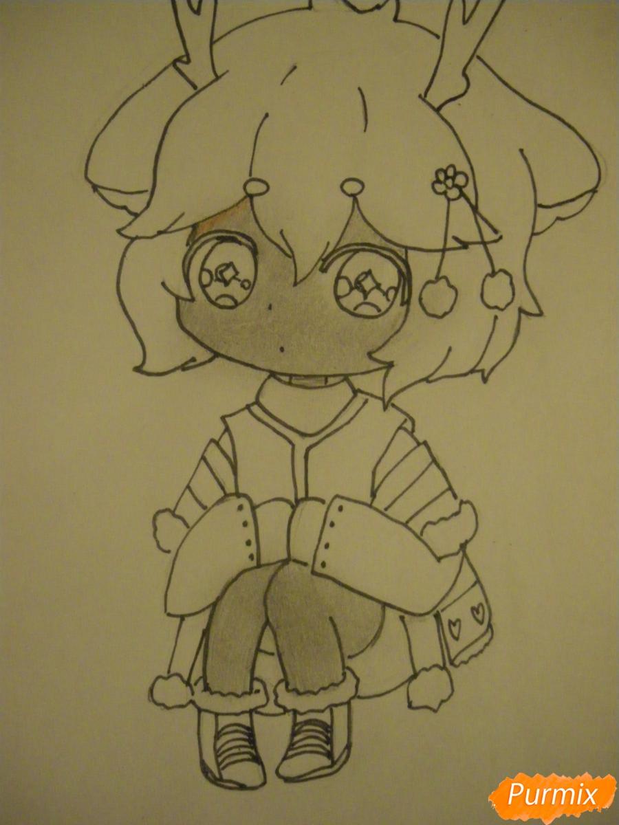 Рисуем девочку оленя в стиле чиби карандашами - шаг 8