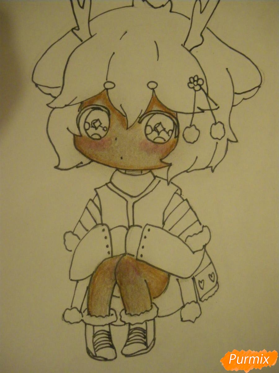 Рисуем девочку оленя в стиле чиби карандашами - шаг 9
