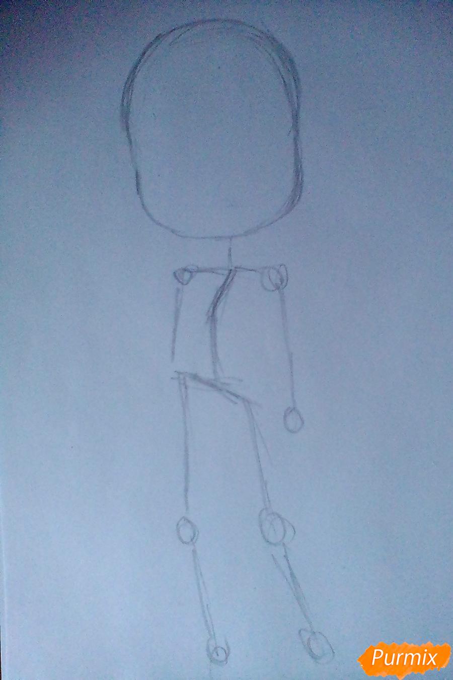 Рисуем девочку-змею в стиле чиби - шаг 1
