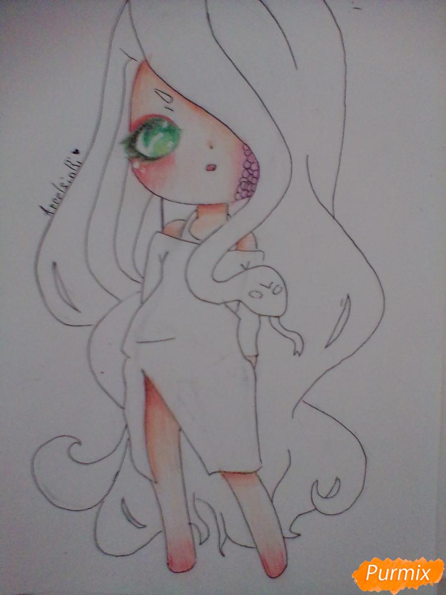 Рисуем девочку-змею в стиле чиби - шаг 10
