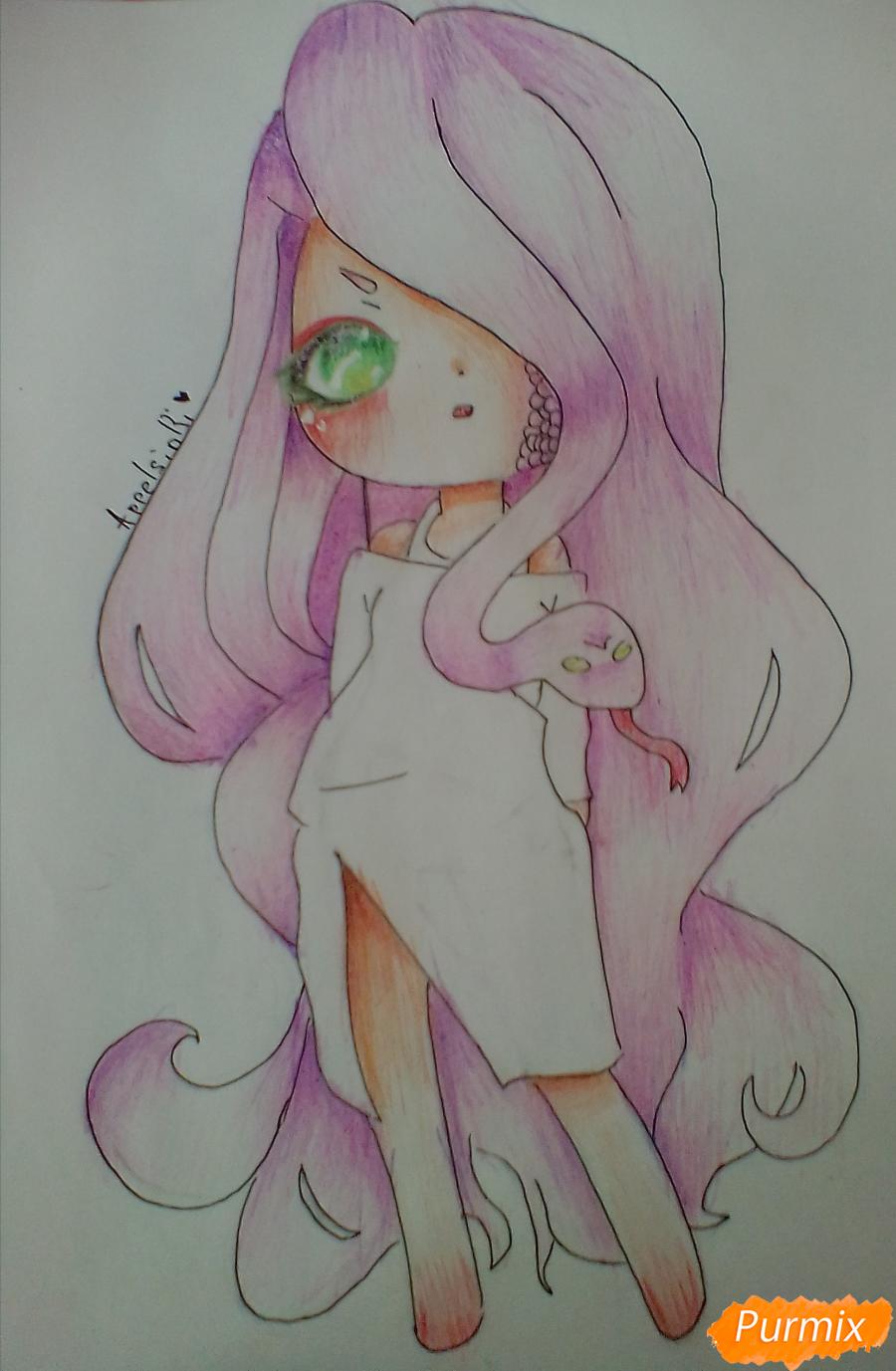 Рисуем девочку-змею в стиле чиби - шаг 11