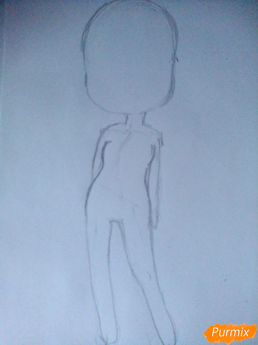 Рисуем девочку-змею в стиле чиби - шаг 2