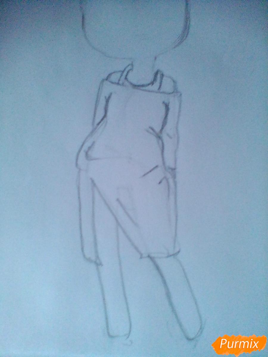Рисуем девочку-змею в стиле чиби - шаг 3