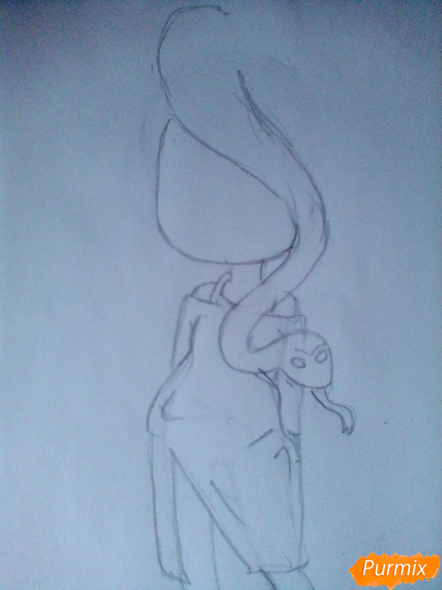 Рисуем девочку-змею в стиле чиби - шаг 4