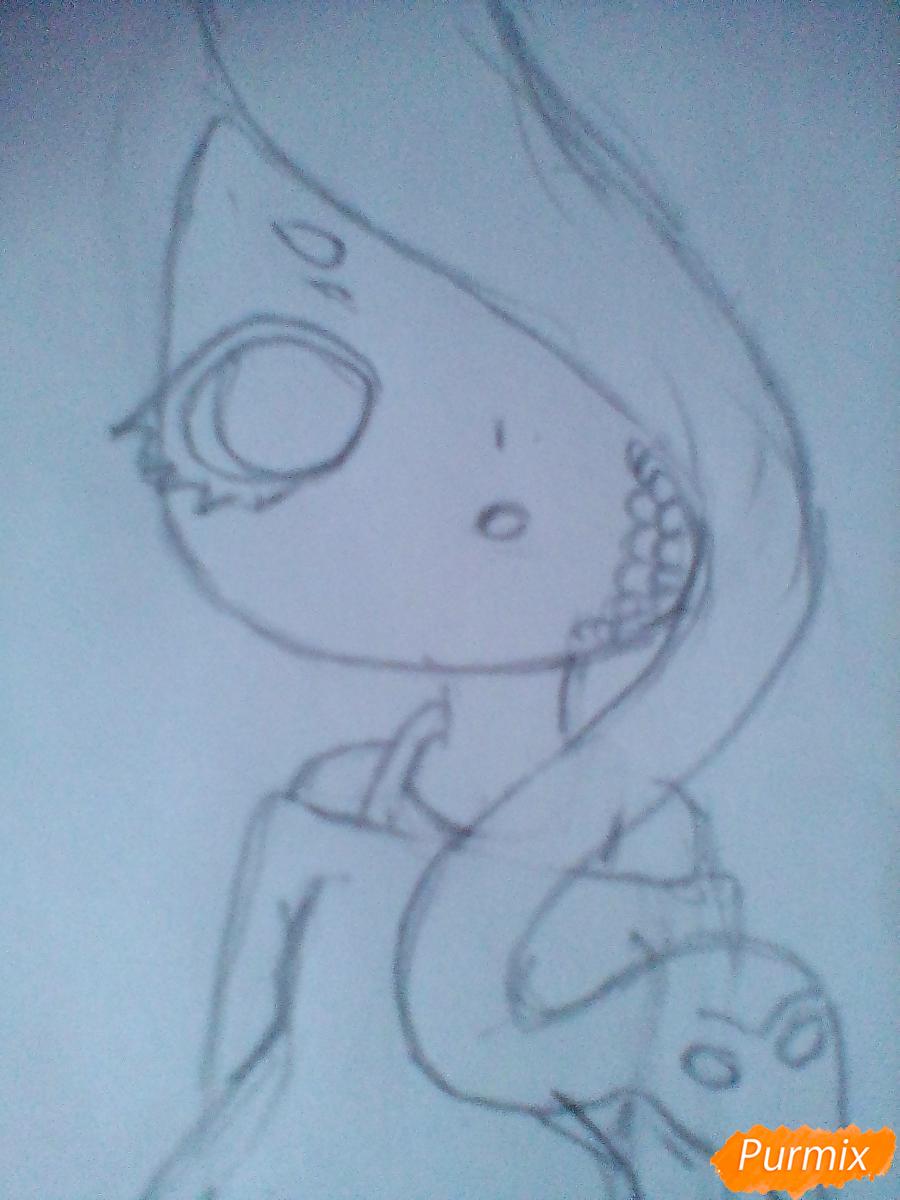 Рисуем девочку-змею в стиле чиби - шаг 5