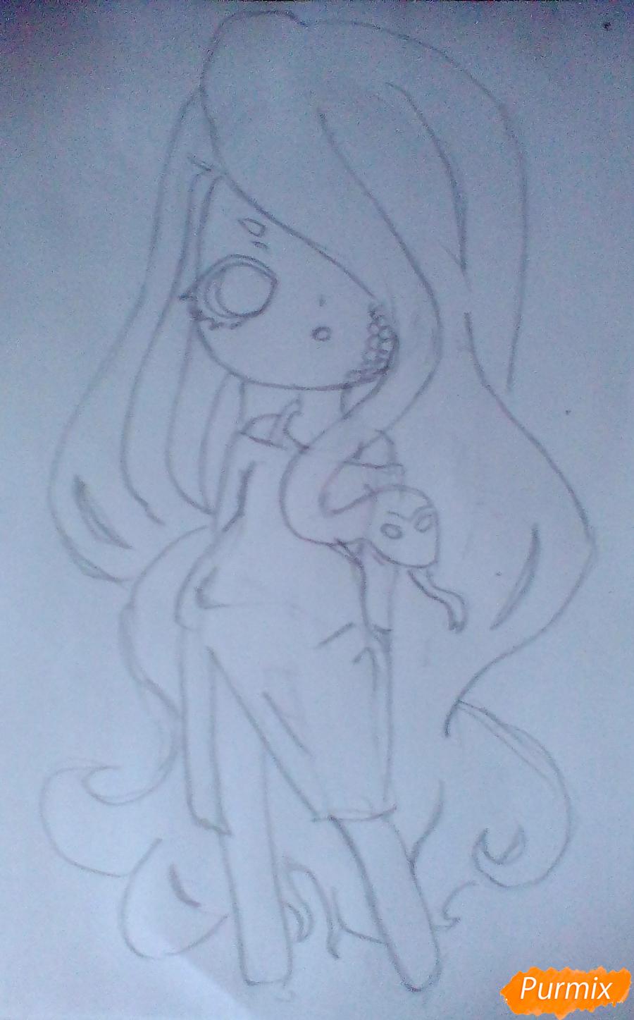 Рисуем девочку-змею в стиле чиби - шаг 6