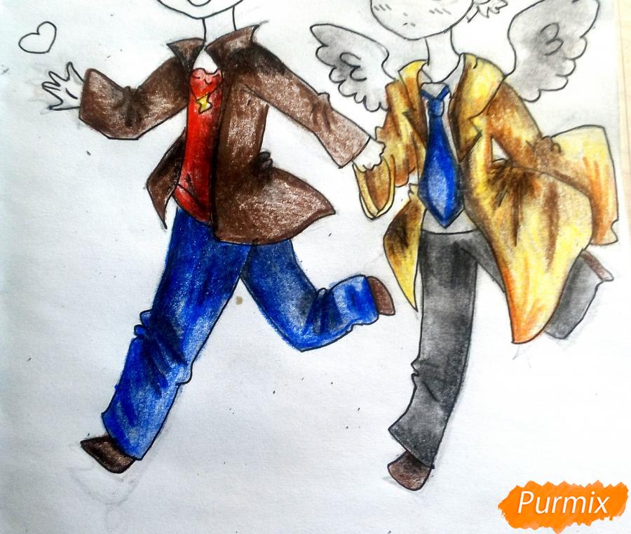 Рисуем Дина и Кастиэля в стиле чиби из Сверхъестественного - шаг 16