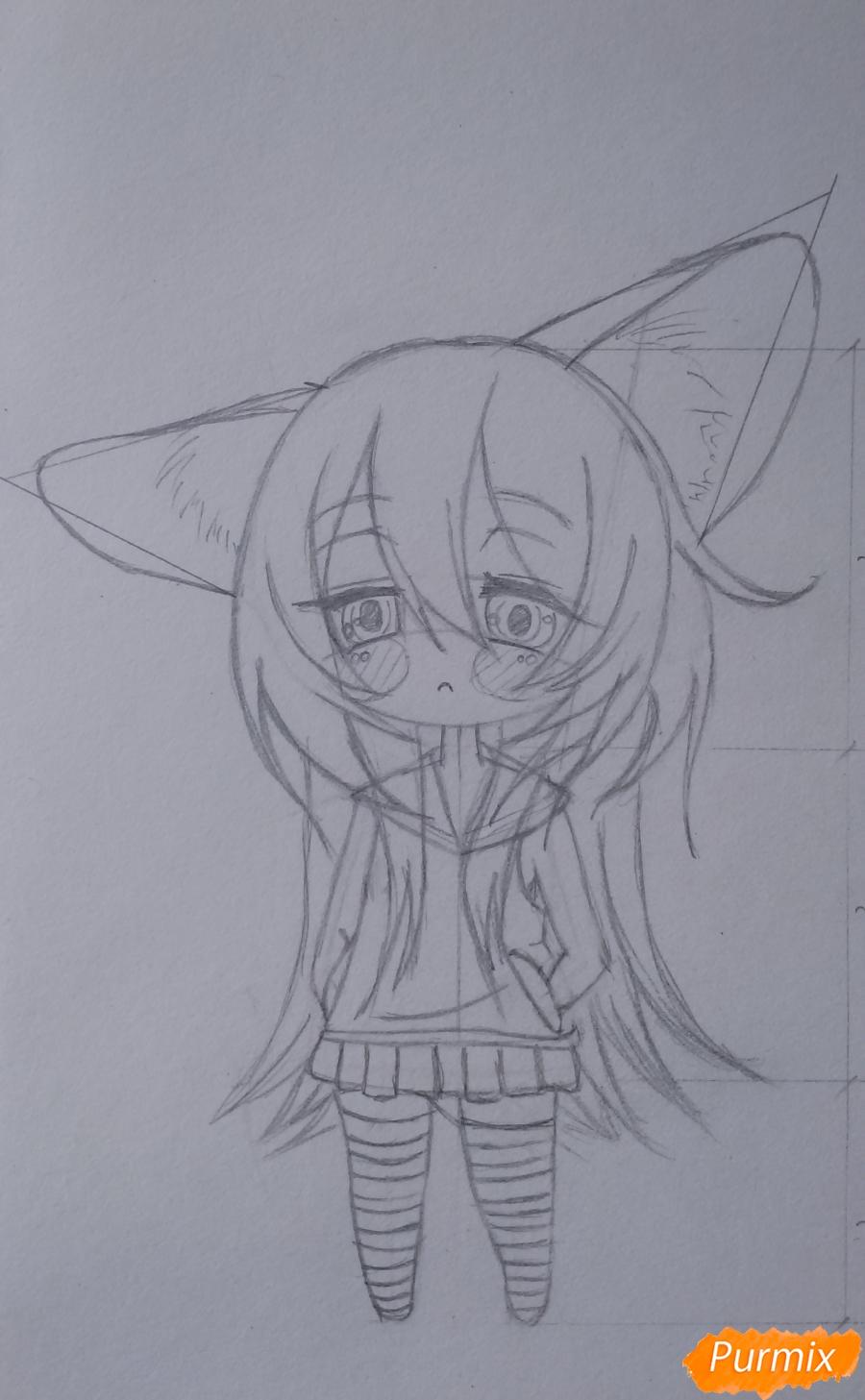 Учимся рисовать грустную девочку-чиби - шаг 10