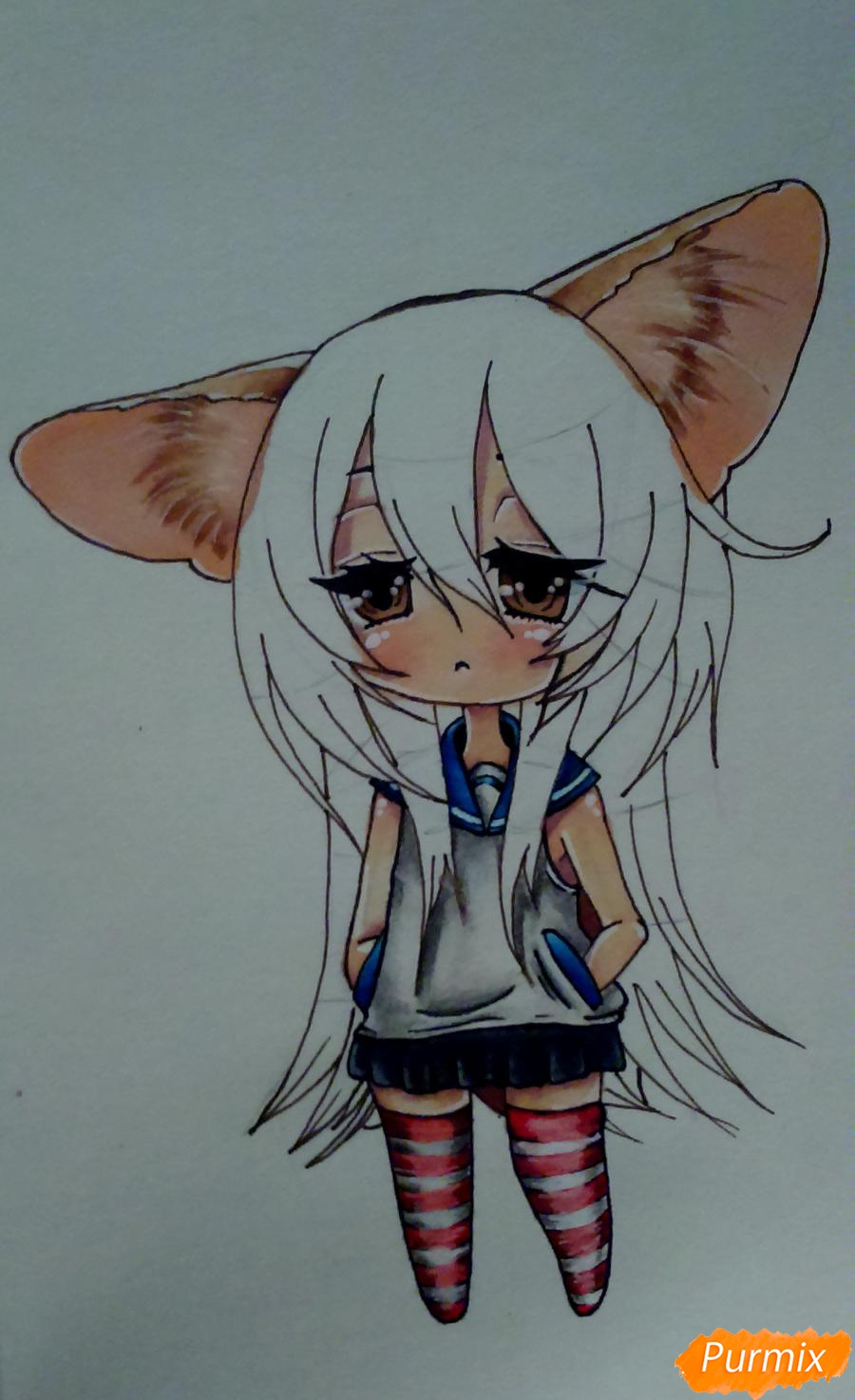 Учимся рисовать грустную девочку-чиби - шаг 14