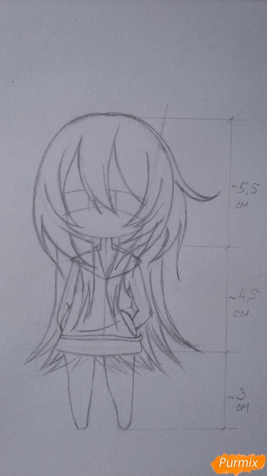 Учимся рисовать грустную девочку-чиби - шаг 8