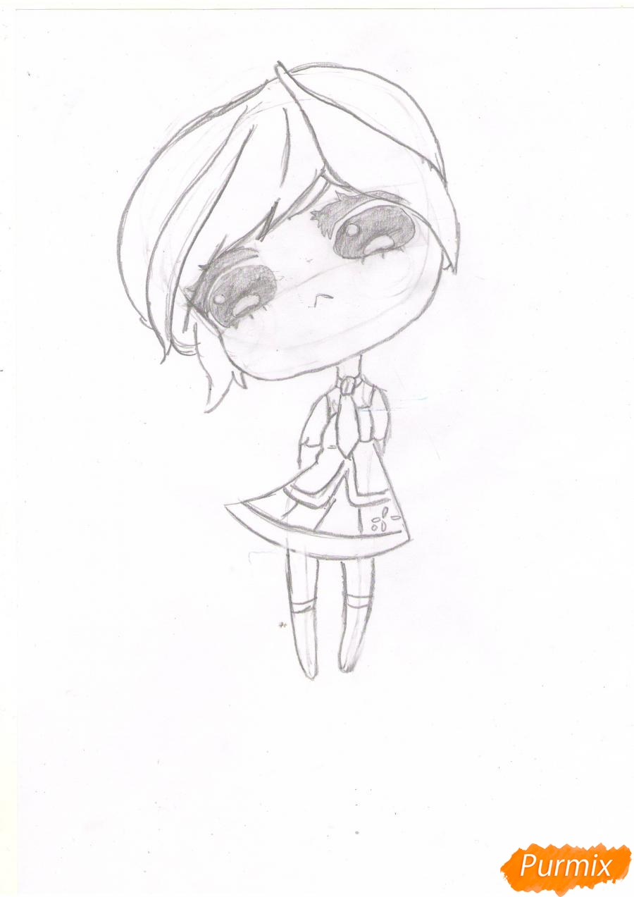 Рисуем грустную Хацунэ Мику в чиби стиле - шаг 3