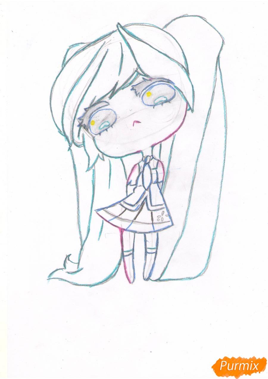 Рисуем грустную Хацунэ Мику в чиби стиле - шаг 5