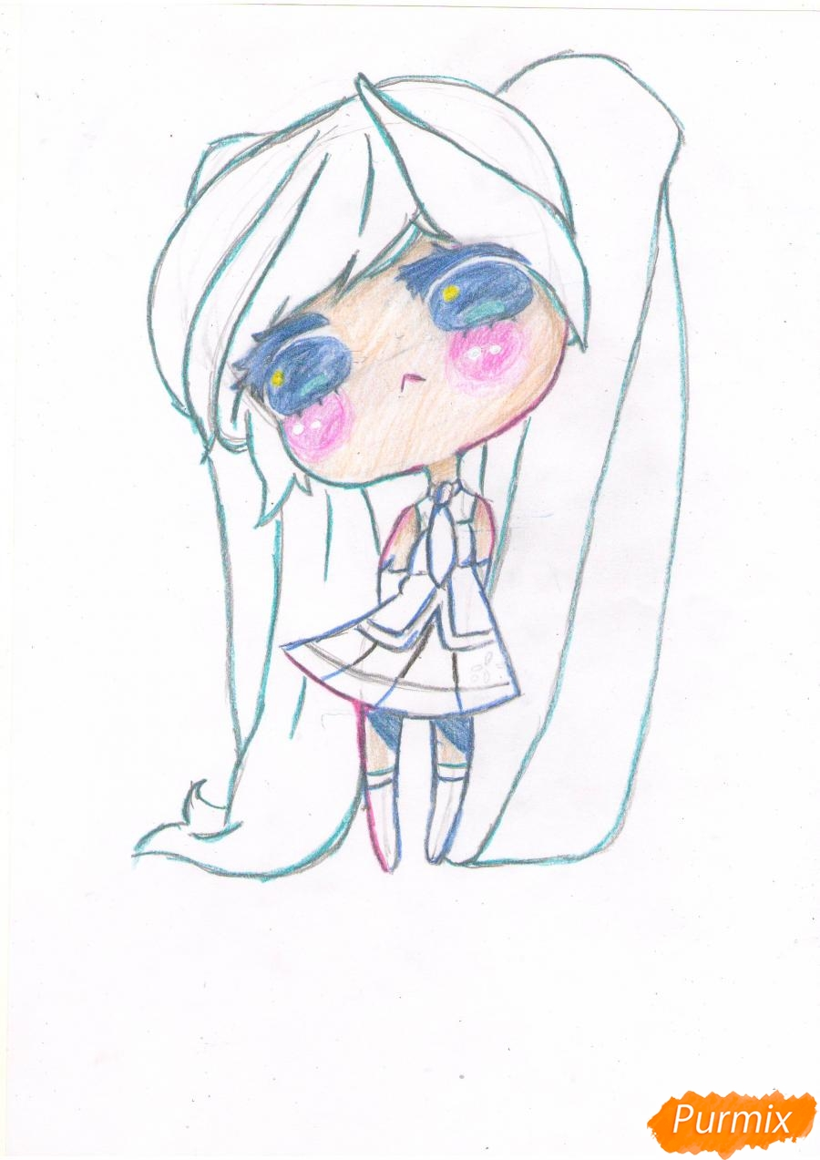 Рисуем грустную Хацунэ Мику в чиби стиле - шаг 6
